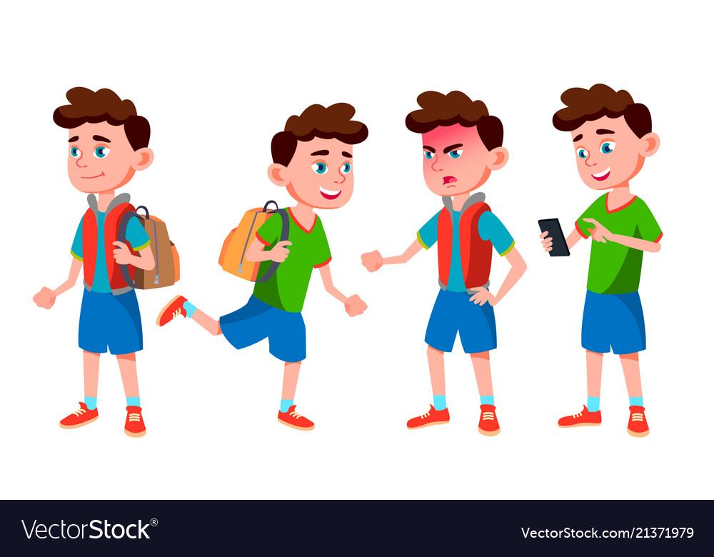 Boy schoolboy kid poses set primary school
