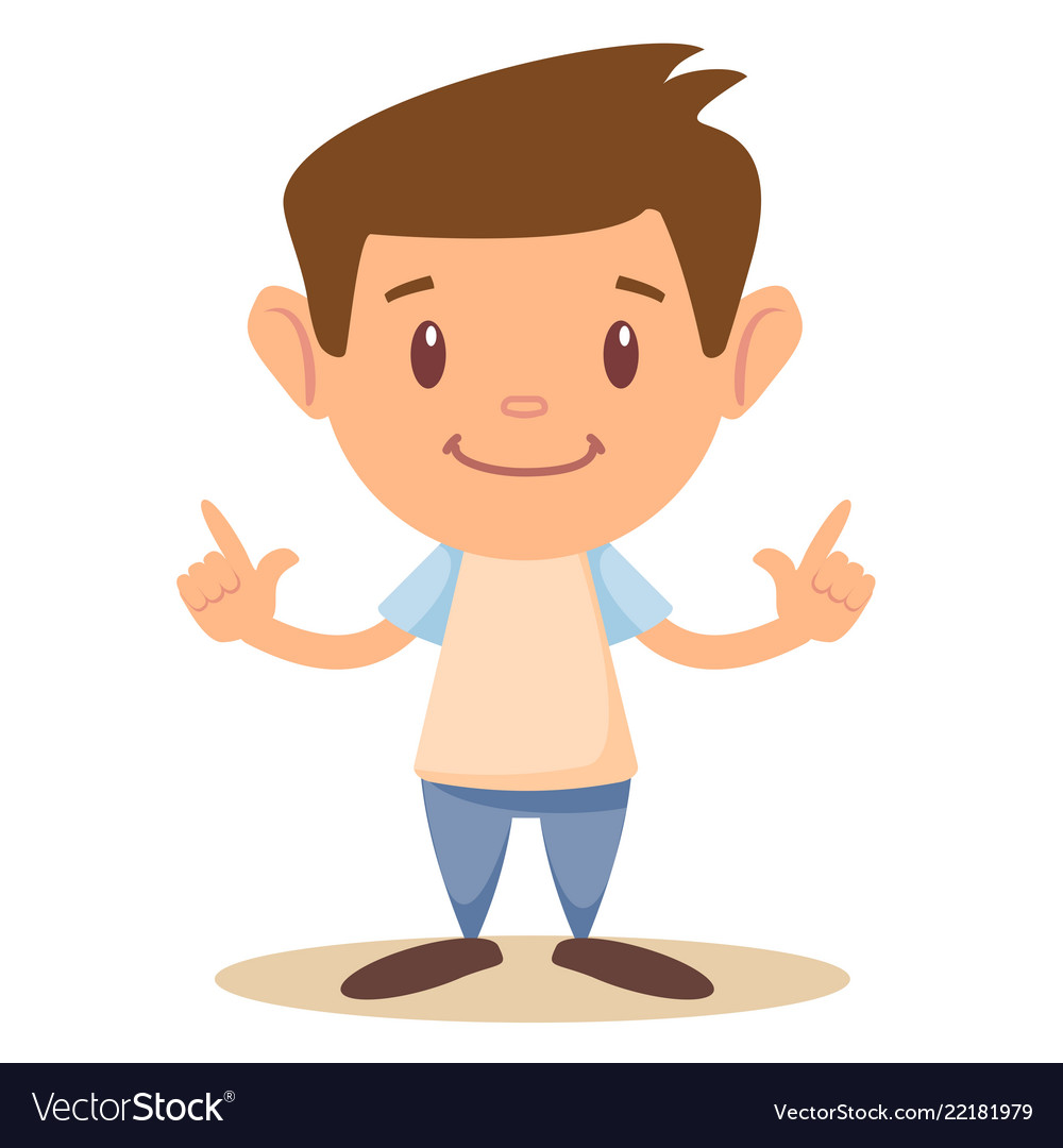 Cartoon cute boy stands in a confident pose