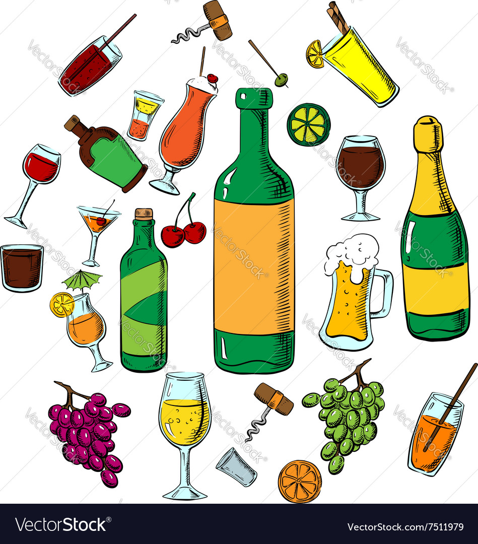 Cocktails alcohol drinks and beverages vector image