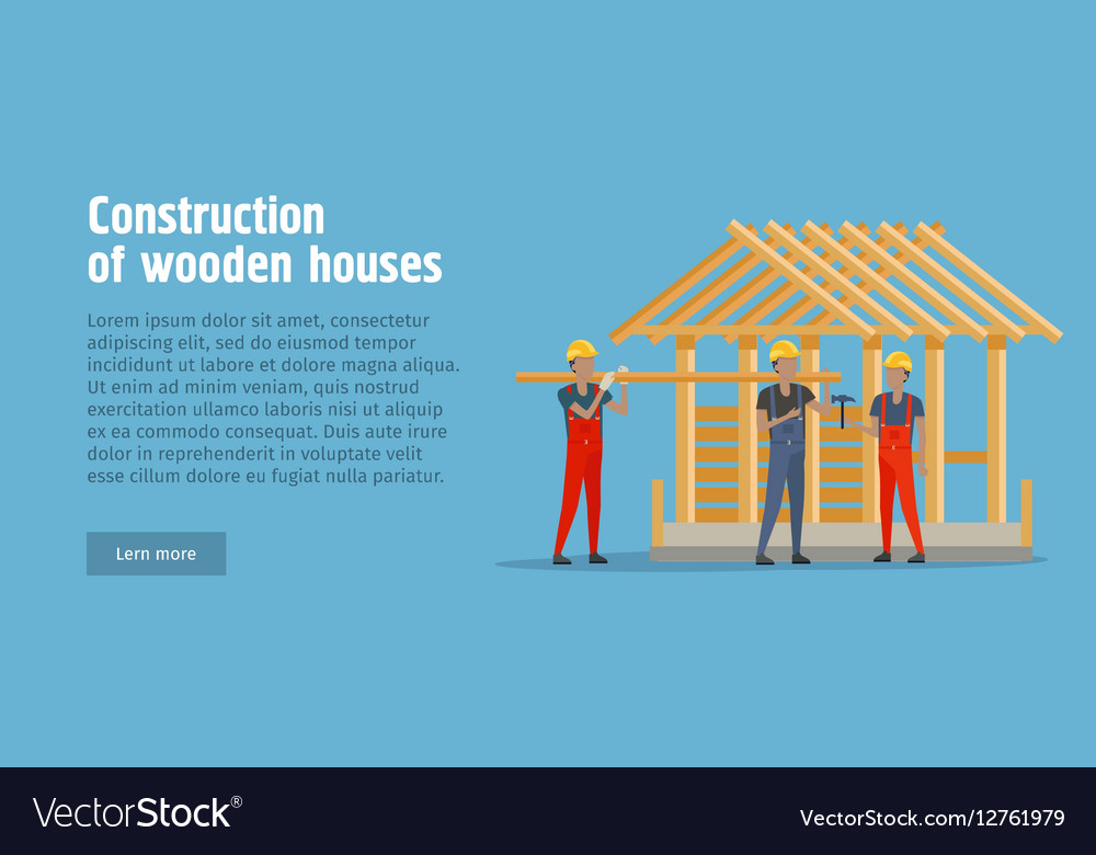 Construction of Wooden House Web Banner