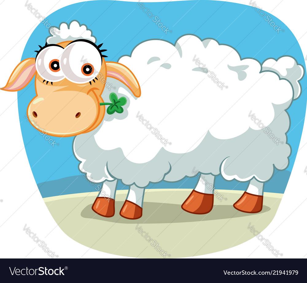 Cute sheep chewing a lucky clover cartoon
