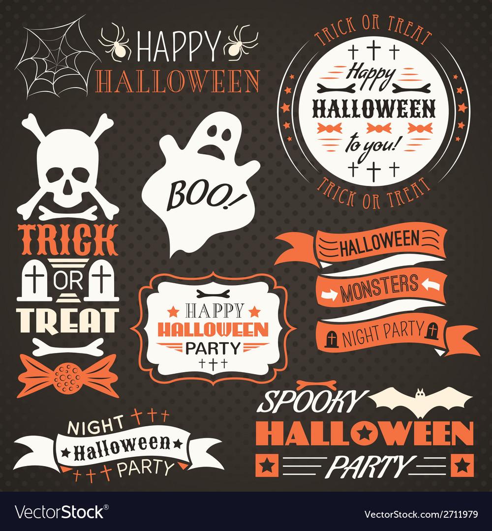 Halloween vintage set - labels ribbons