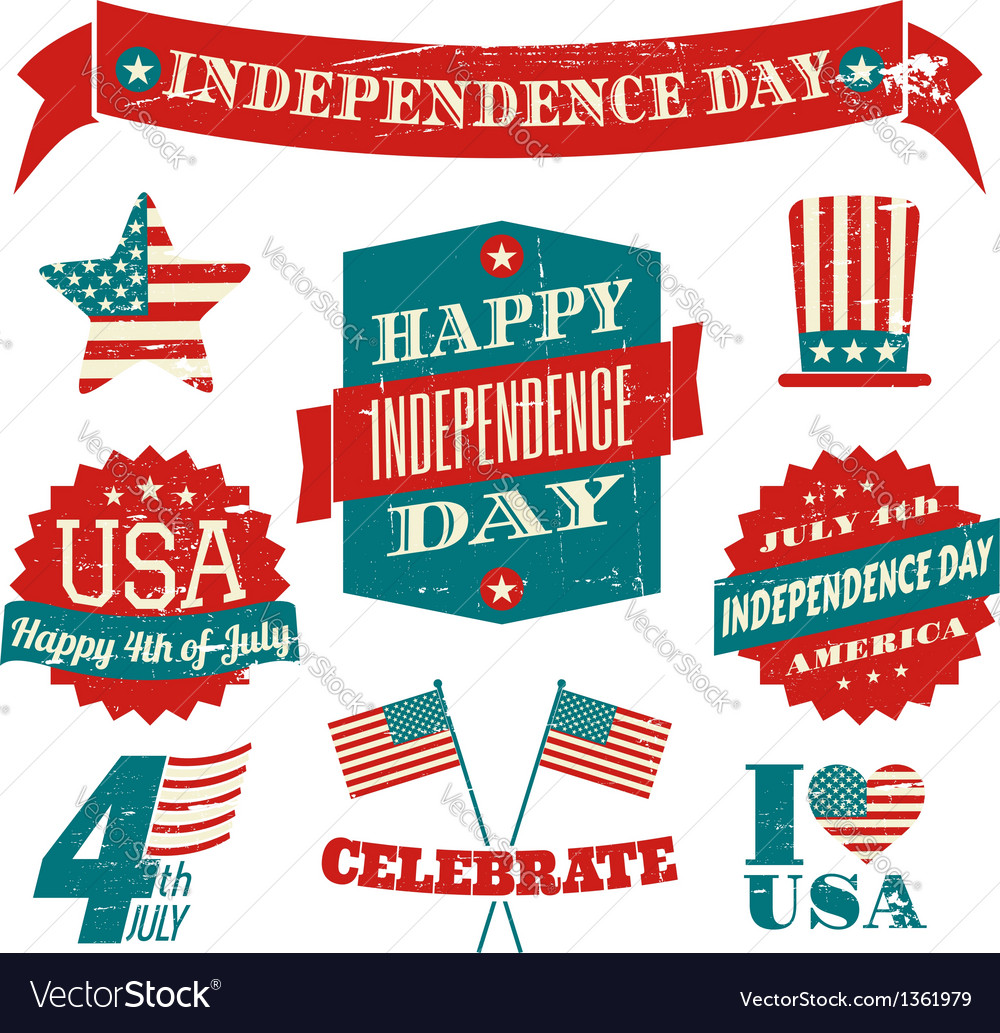 Independence Day VintageDesign Elements Collection vector image