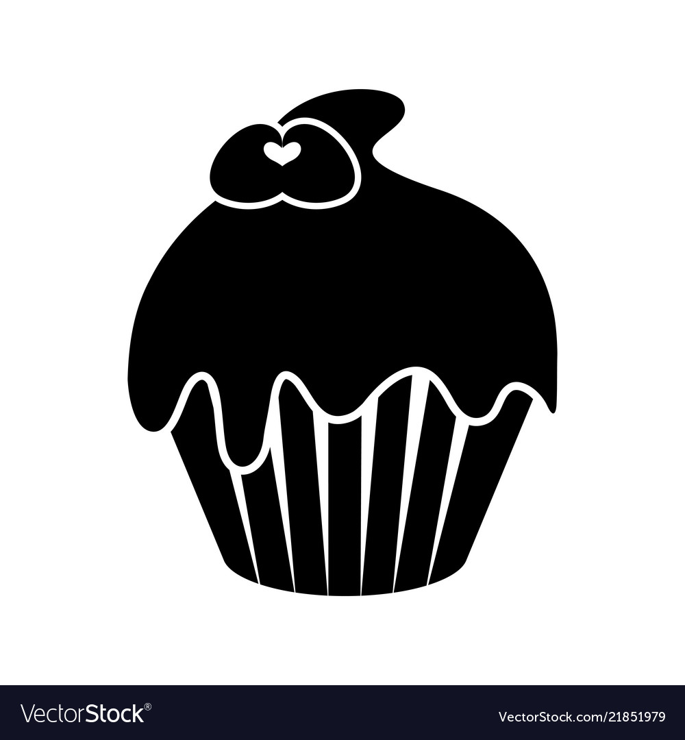Isolated cupcake silhouette icon