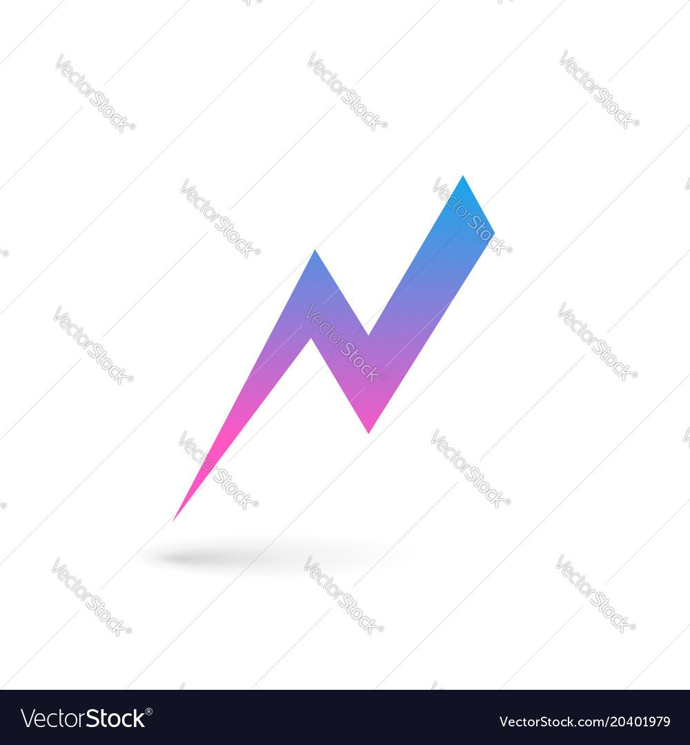 letter n lightning logo icon design template vector image