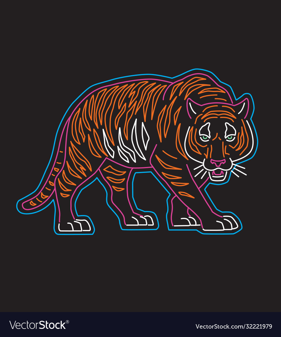 Neon tiger graphic for t-shir