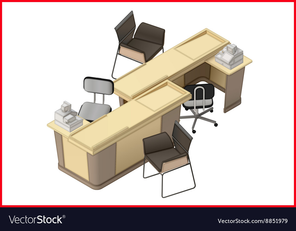 Office furniture workspace isometric flat