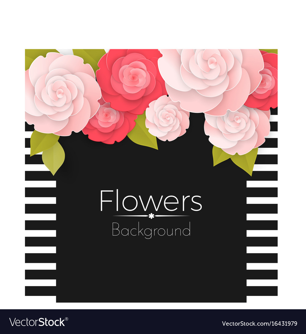 Paper flowers background with stripped frame