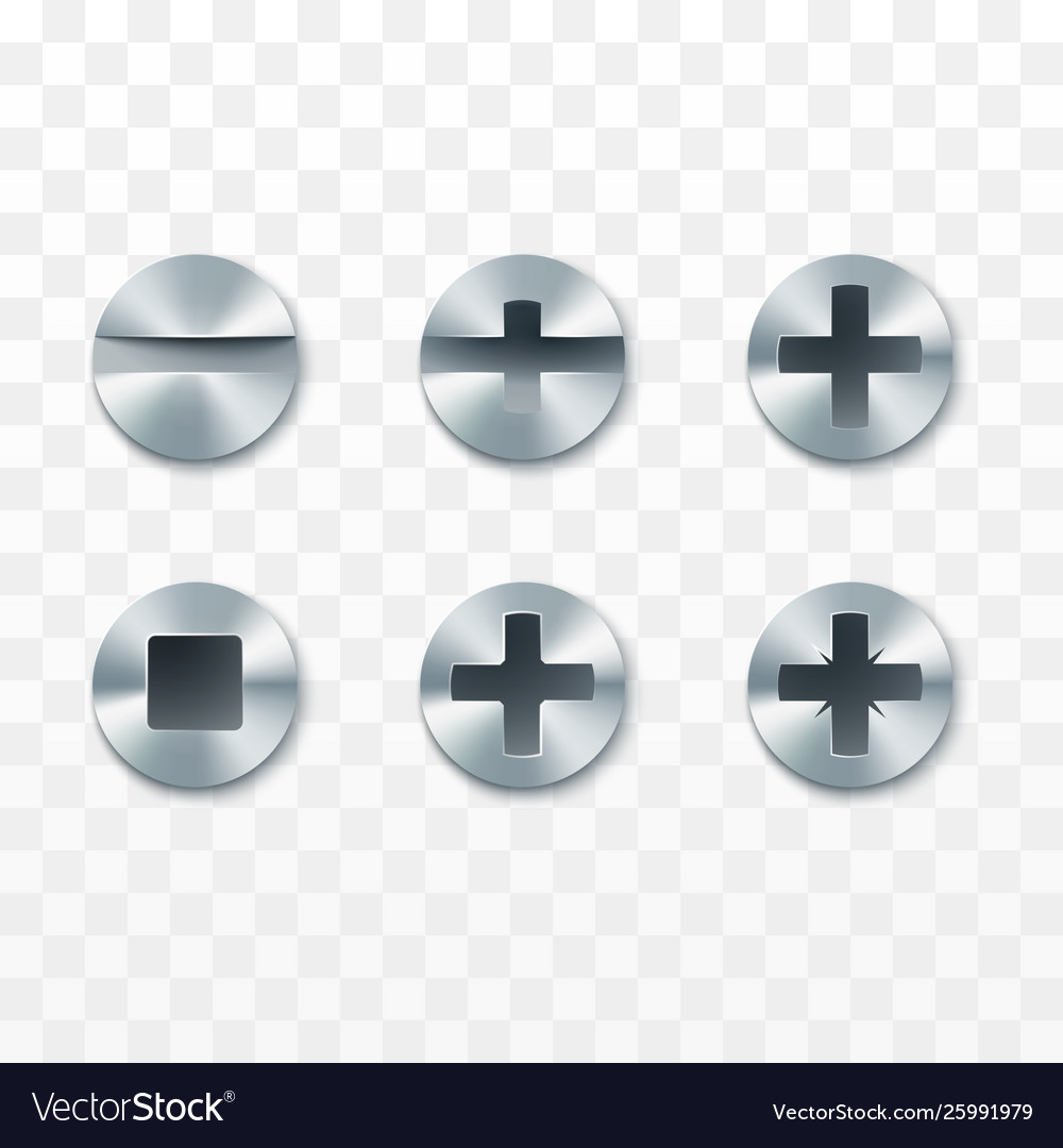 Screws rivets and bolts set isolated on vector