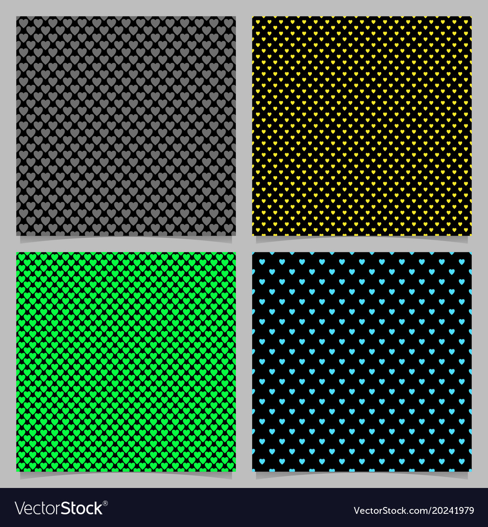 Seamless heart pattern background set vector image