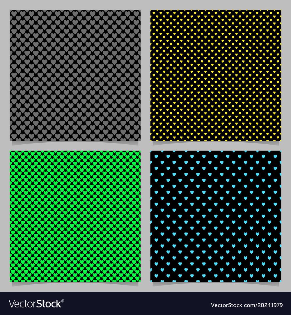 Seamless heart pattern background set