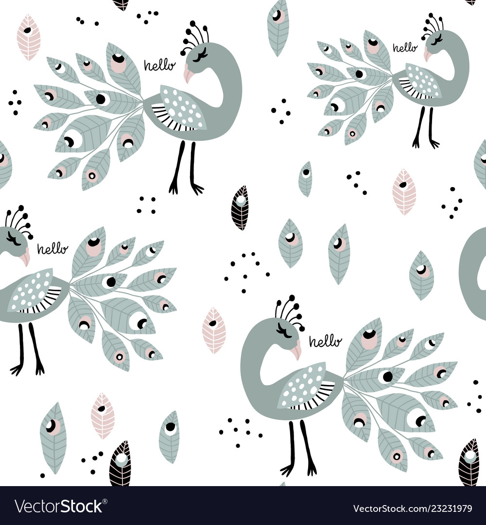 Seamless pattern with peacoks creative childish