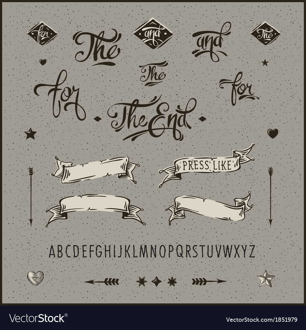 Set of vintage hipster ribbon arrow alphabet vector image