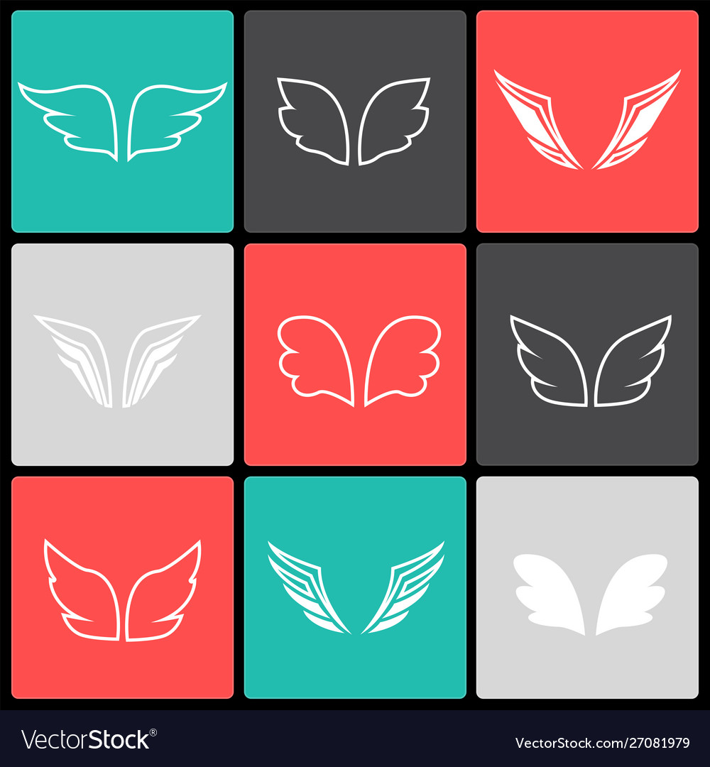 Wings icon set birds and angel