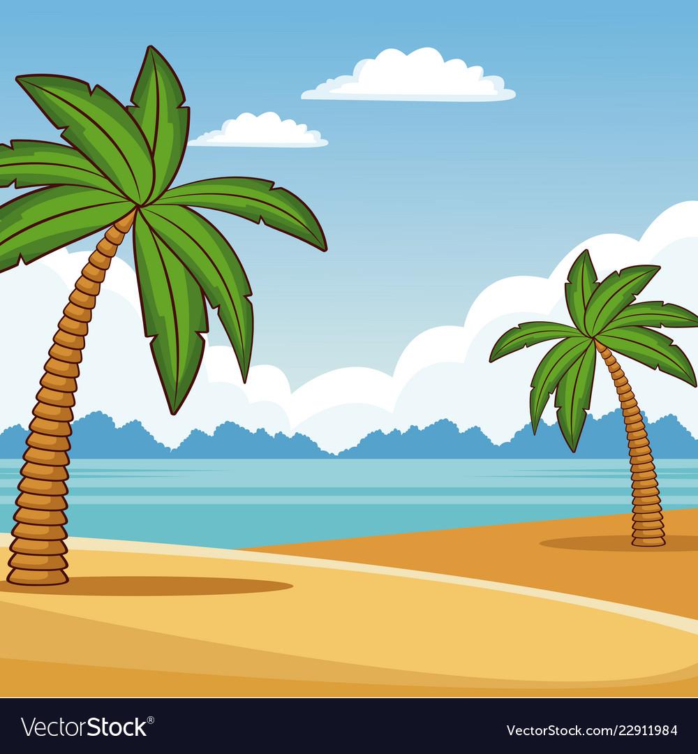 Beautiful Beach Scenery Vector Image