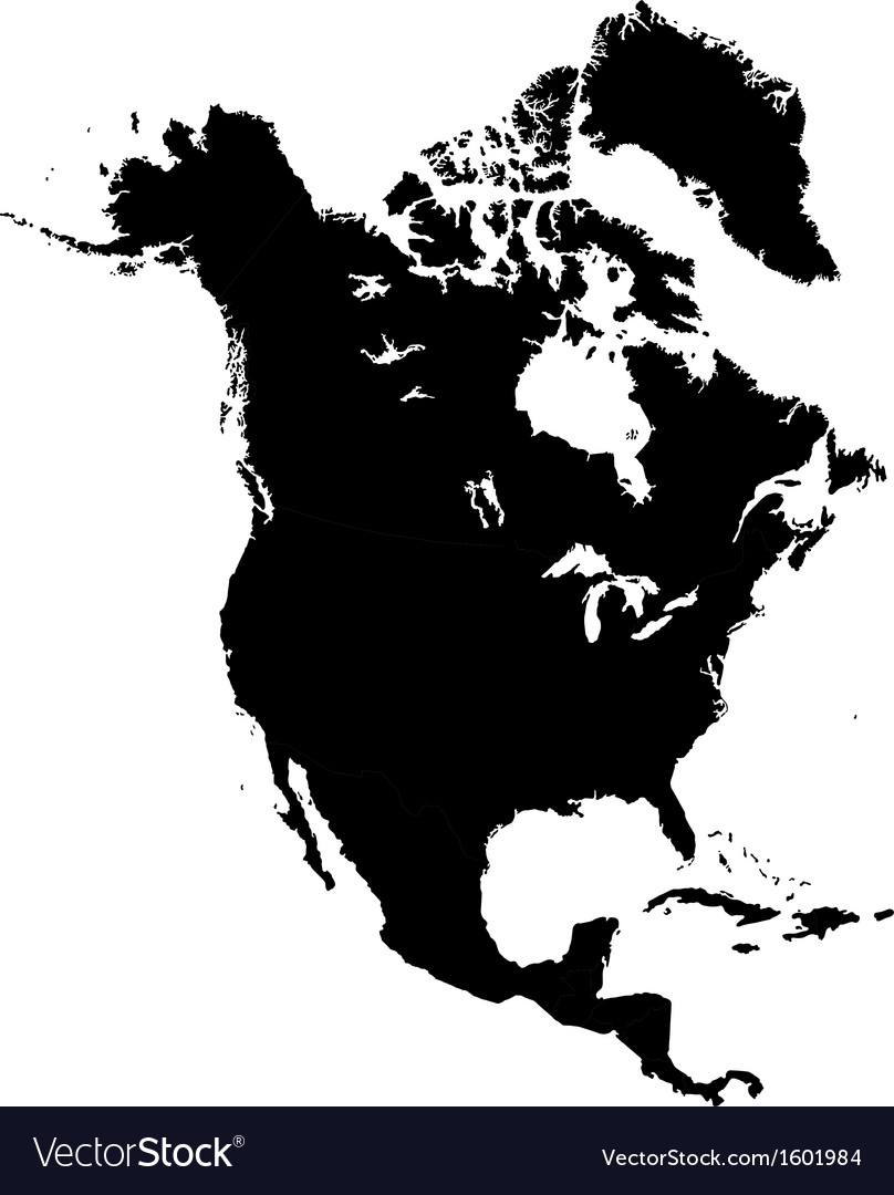 Free Vector Map Of North America.Black North America Map Royalty Free Vector Image