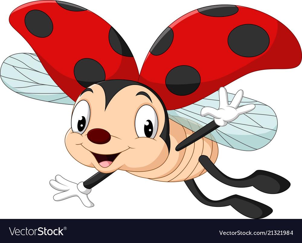 Cartoon ladybug flying