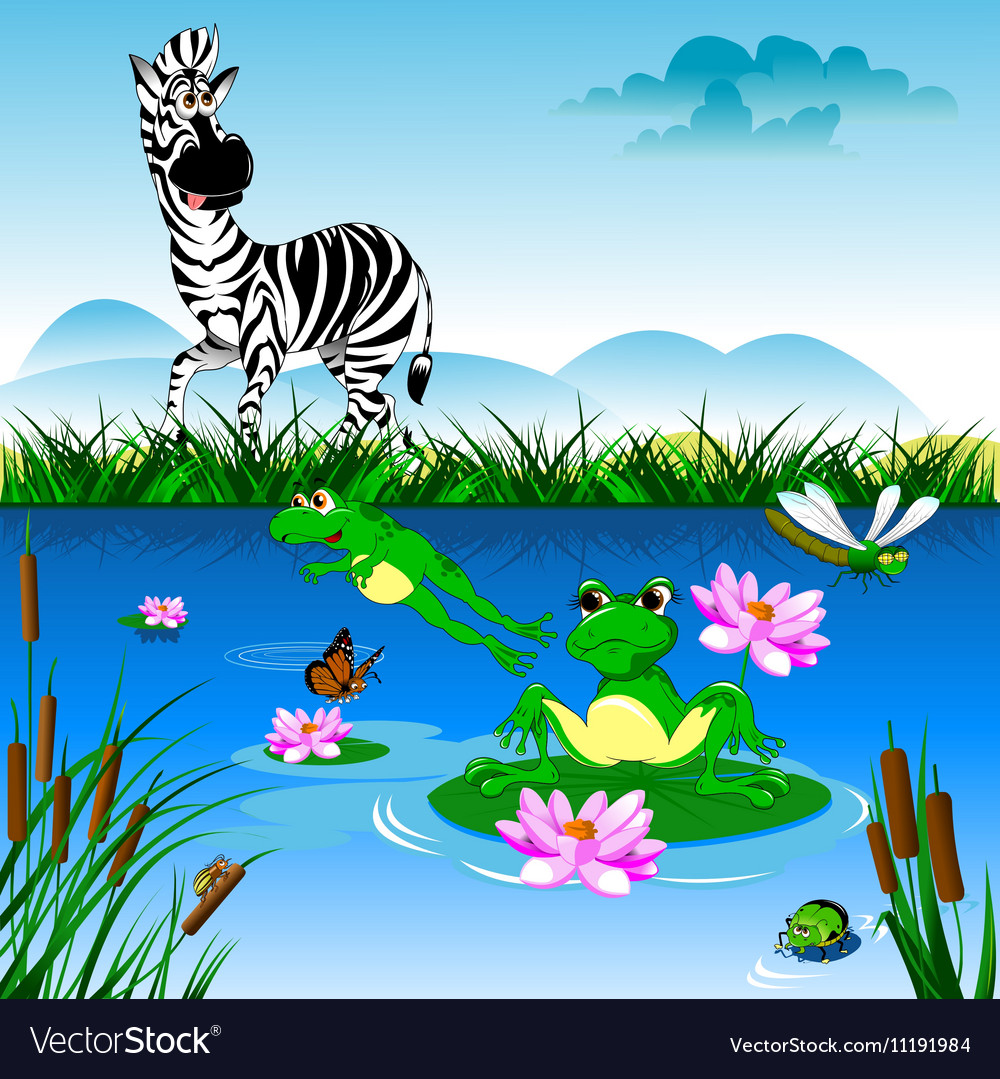 Cartoon zebra in forrest