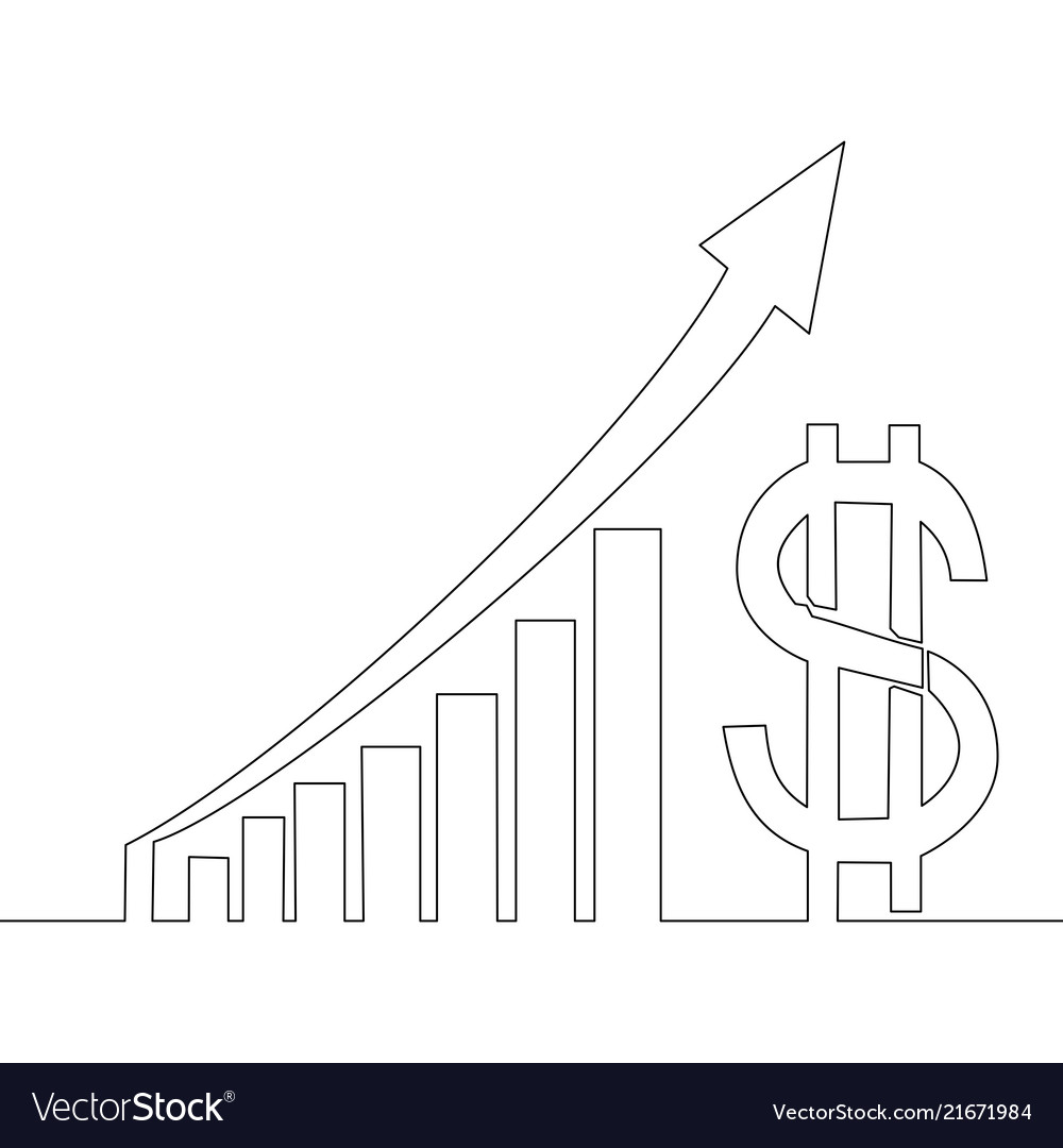 Continuous one line drawing profit dollar graphs