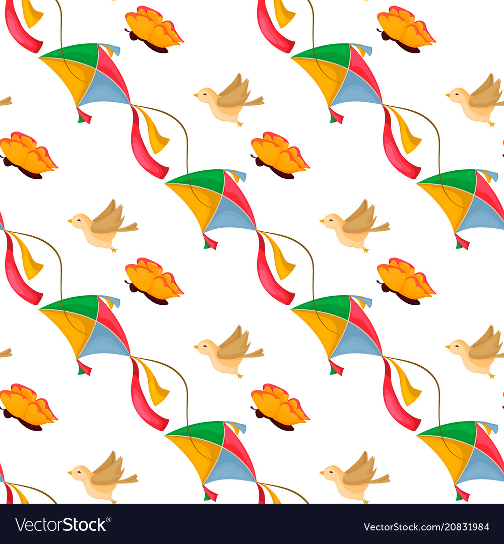 Fly kite seamless pattern summer game background vector image