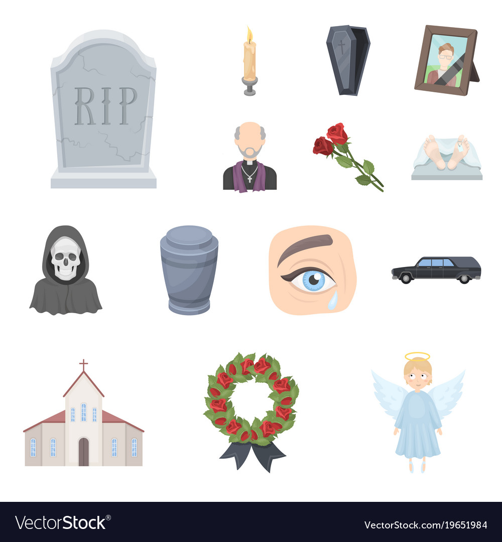 Funeral ceremony cartoon icons in set collection