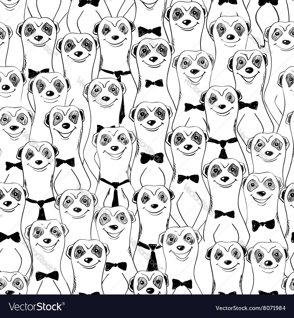 Graphic Seamless Pattern Of Smiling Meerkats