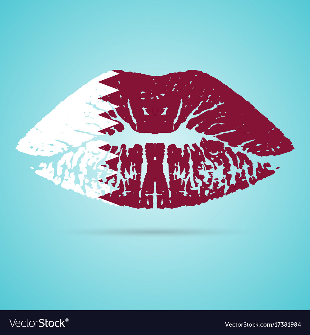 Qatar flag lipstick on the lips isolated on a