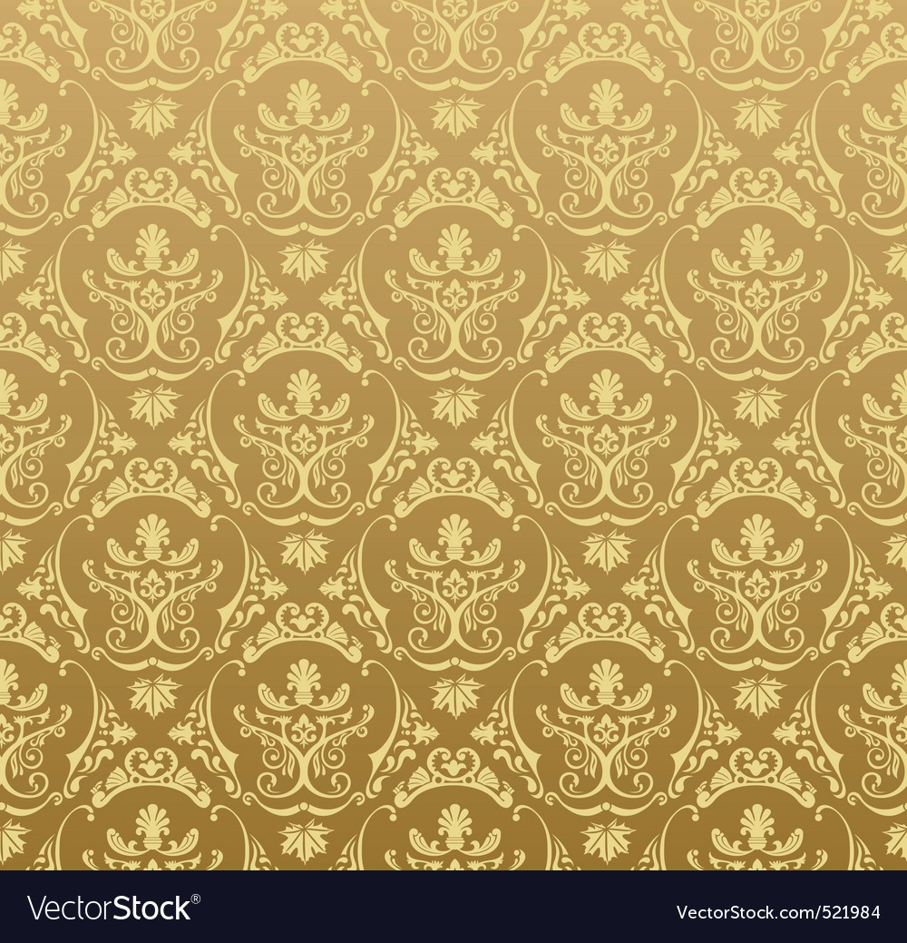 Seamless Wallpaper Background Floral Vintage Gold Vector Image