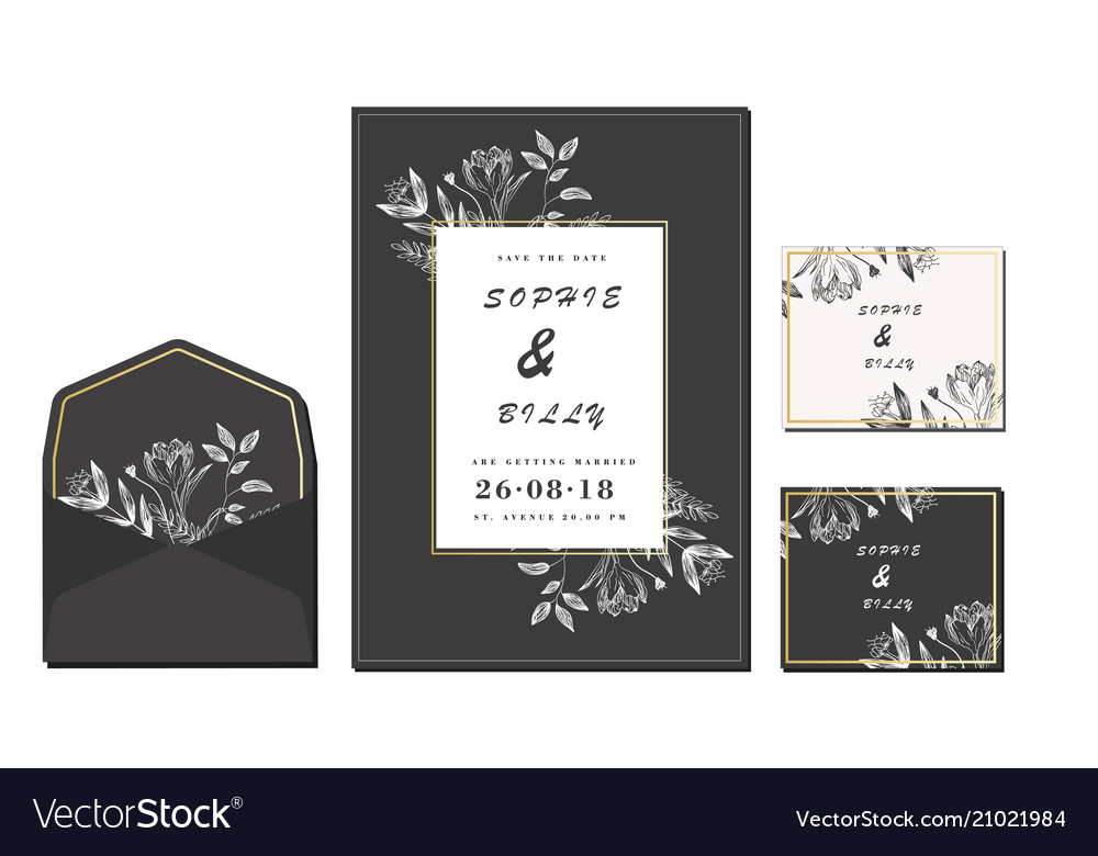 Set of card with flower rose leaves wedding