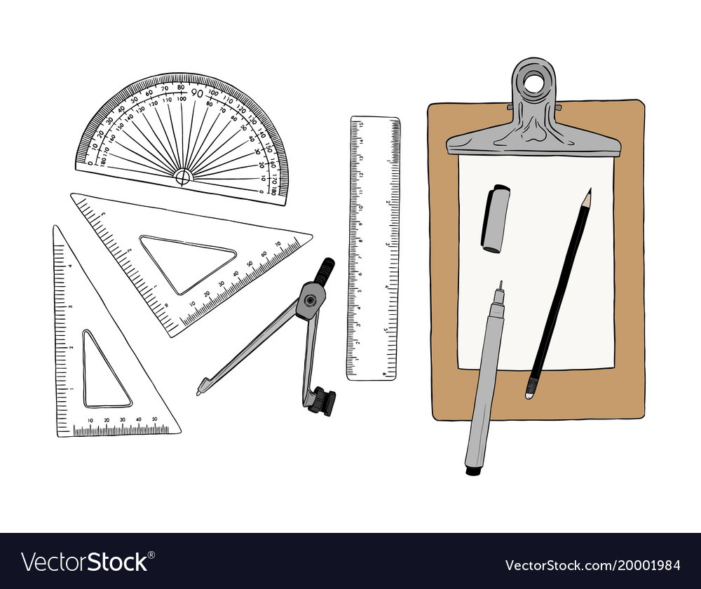 Set of stationary hand draw element sketch