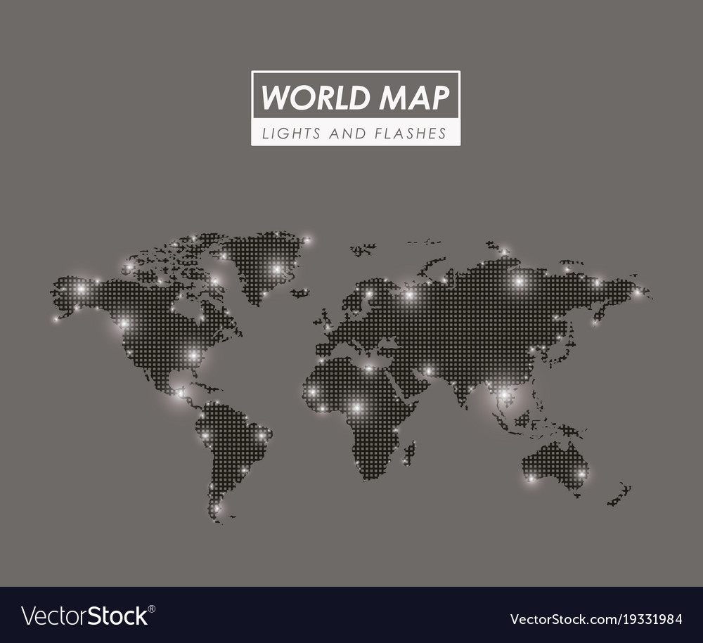World map lights and flashes in gray silhouette vector image gumiabroncs Choice Image