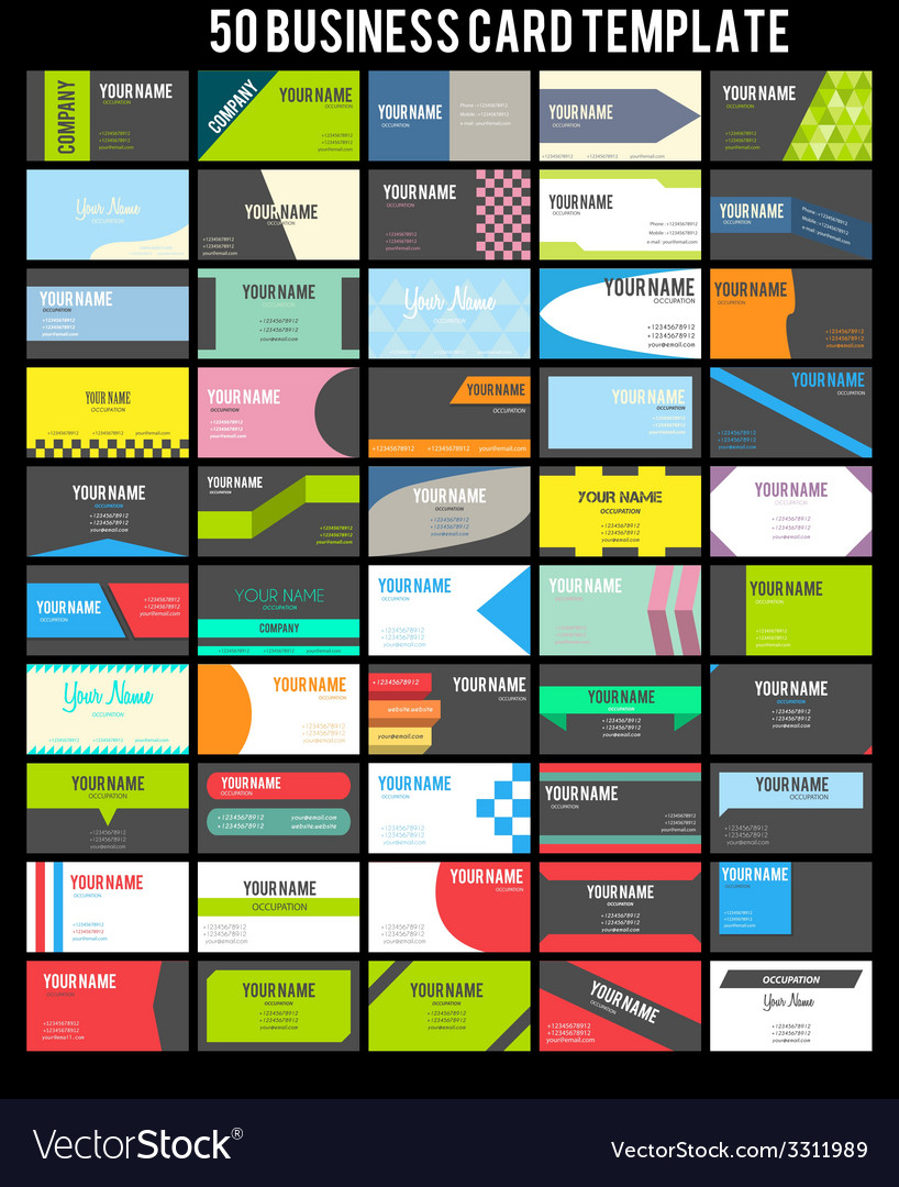 50 Business Card Template vector image