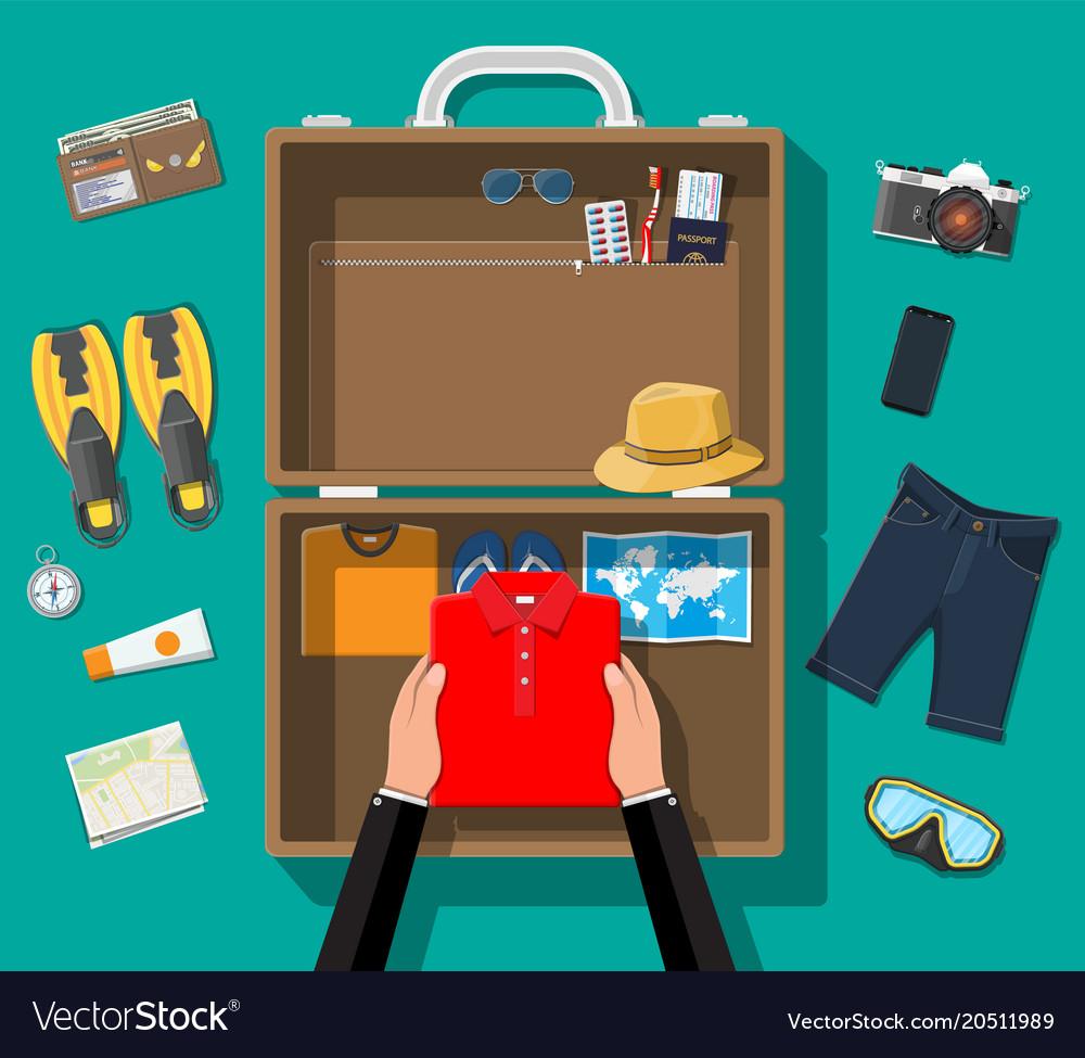 Big travel set summer holiday tourism vacation