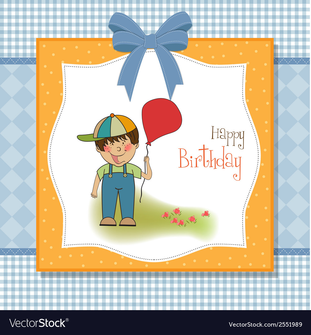 Birthday Greeting Card With Little Boy Vector Image