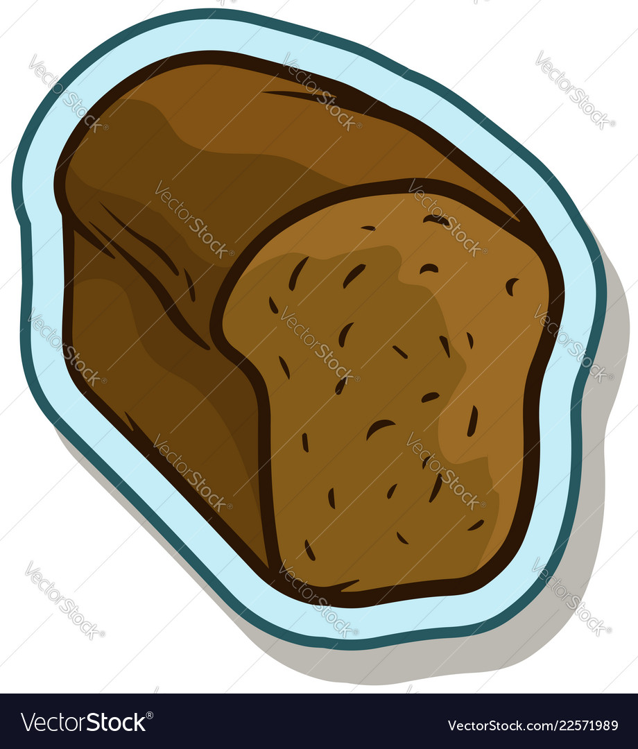 Cartoon rye tasty bread sticker icon
