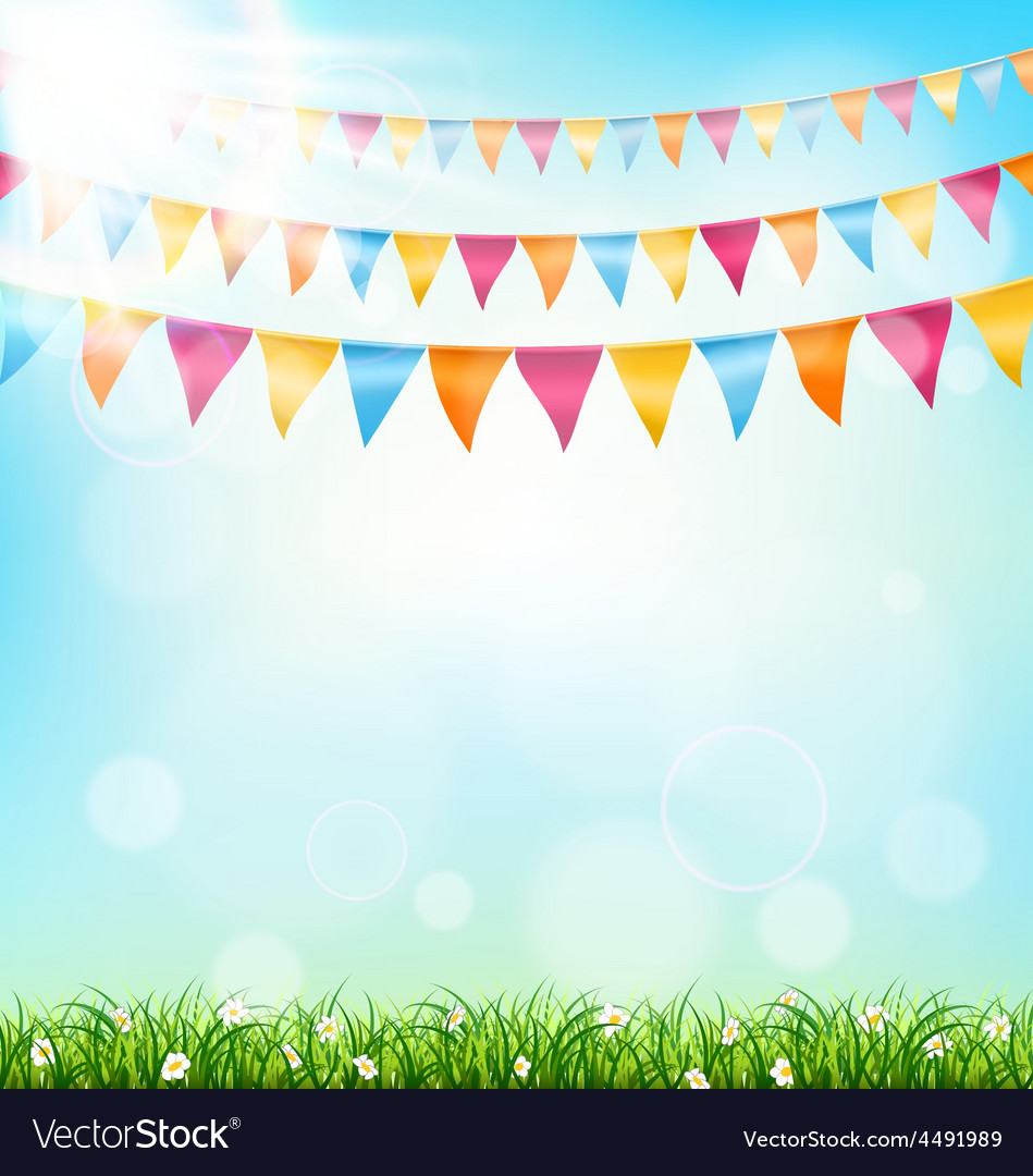 Celebration background with buntings grass and