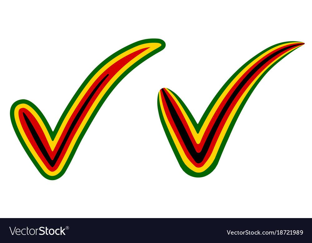 Check Mark Style Zimbabwe Flag Symbol Elections Vector Image