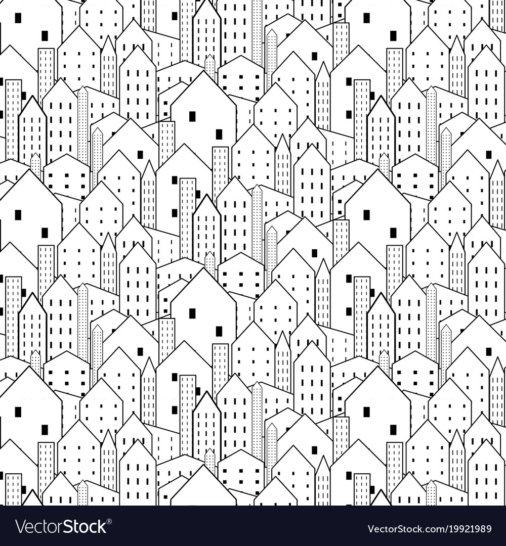 City seamless pattern in black and white