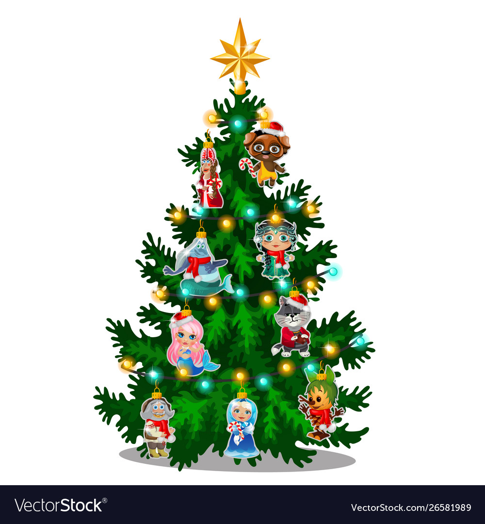 Green Christmas Tree With Colorful Painted Vector Image