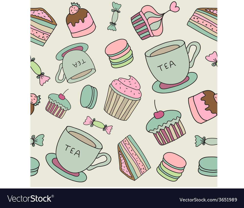 Hand drawn cakes sweets macaroons tea cup seamless