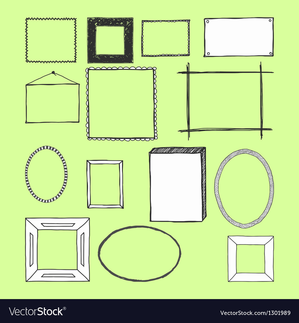 Hand Drawn Frames Doodles Isolated
