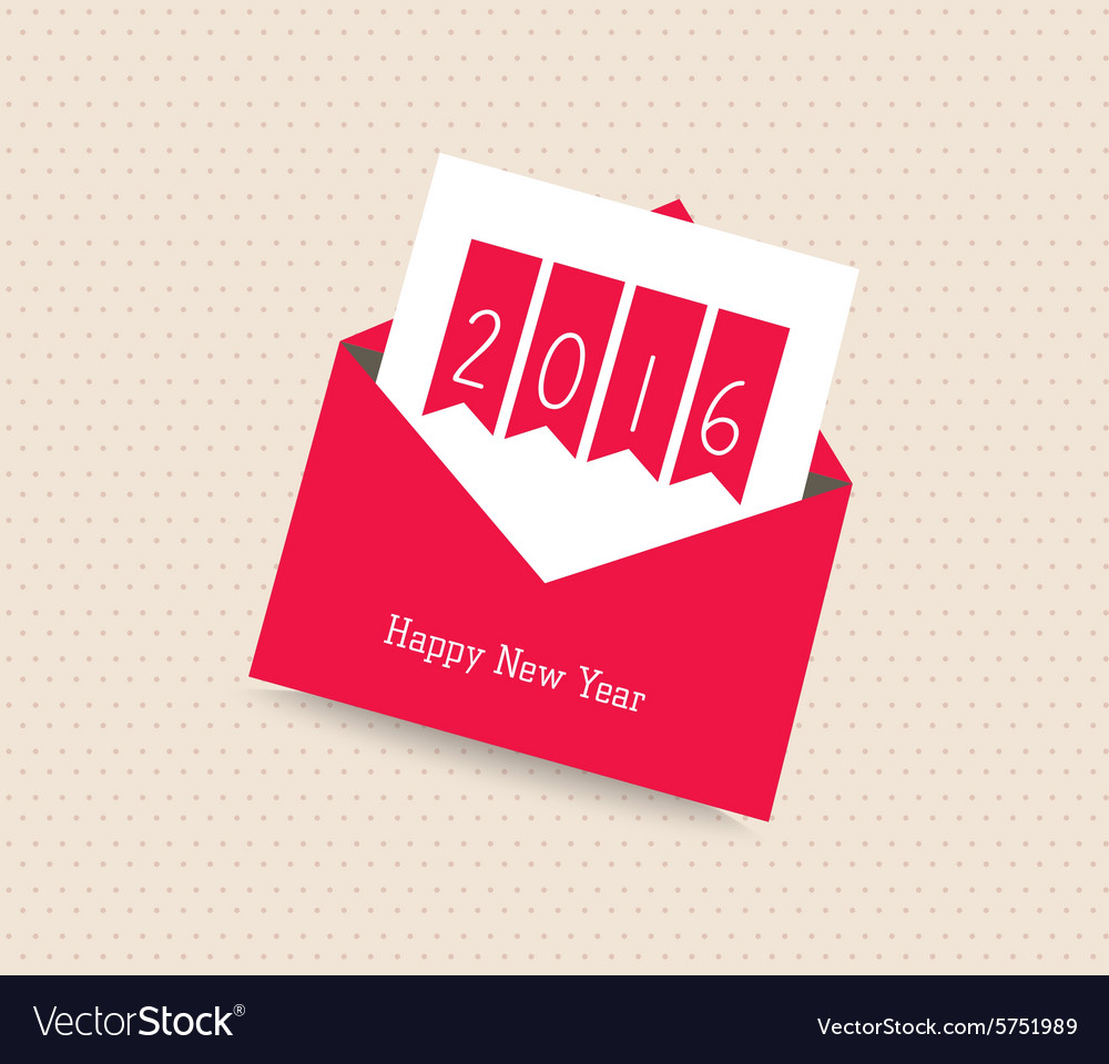 Happy New Year 2016 Greeting Card With Envelope Vector Image