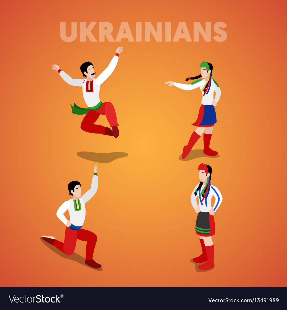 Isometric ukrainian dancing people