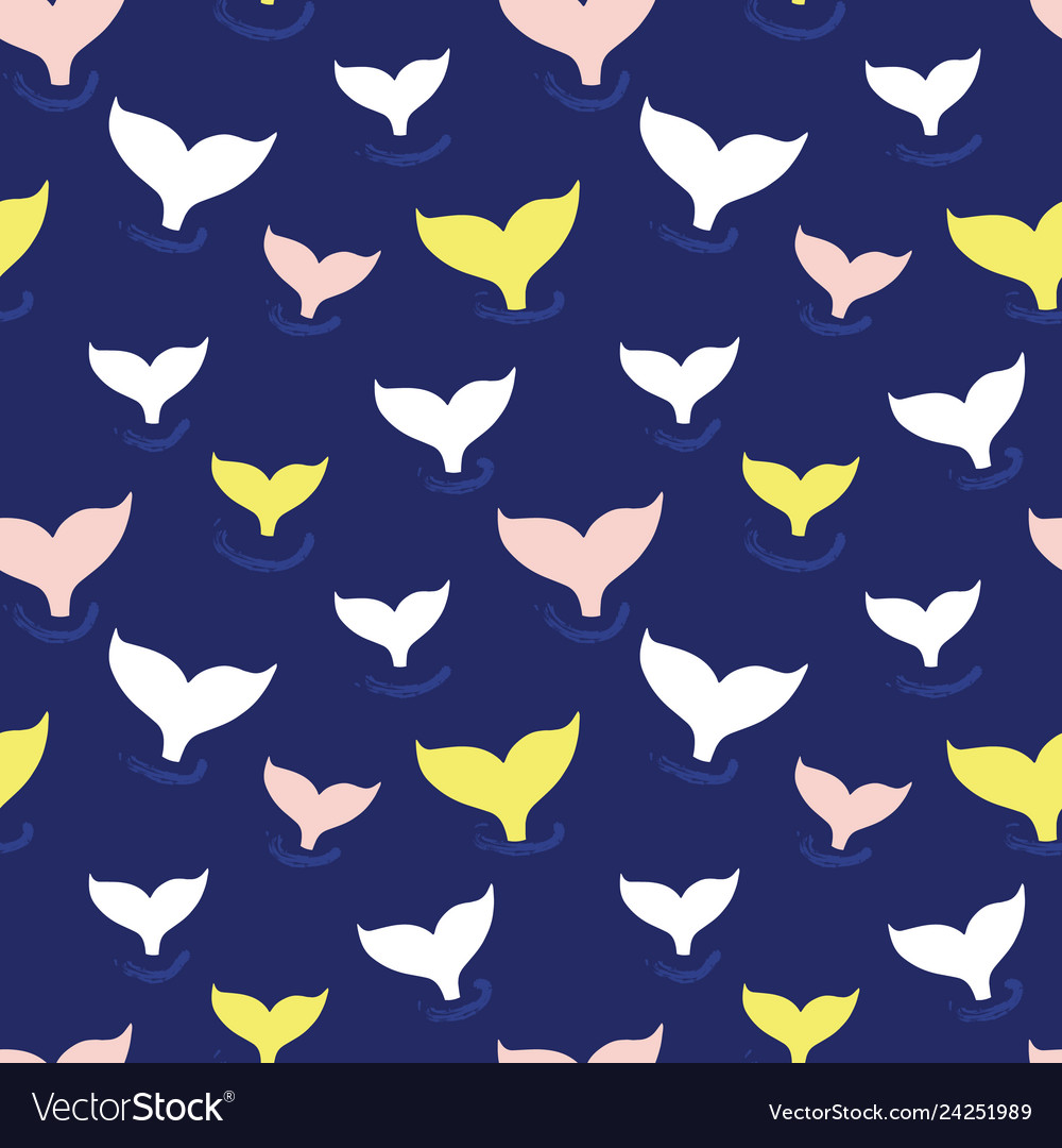 Seamless pattern with whale fin in ocean wave