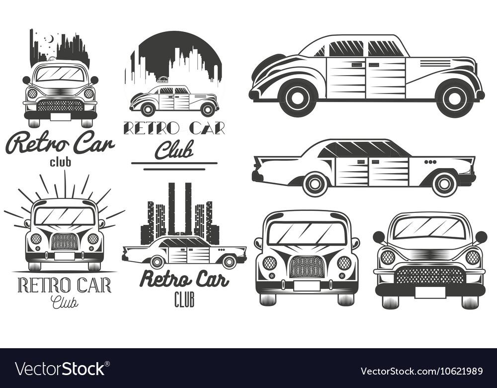 set of retro car club logos banners royalty free vector rh vectorstock com car club logos for the 1960s car club logos for the 1960s