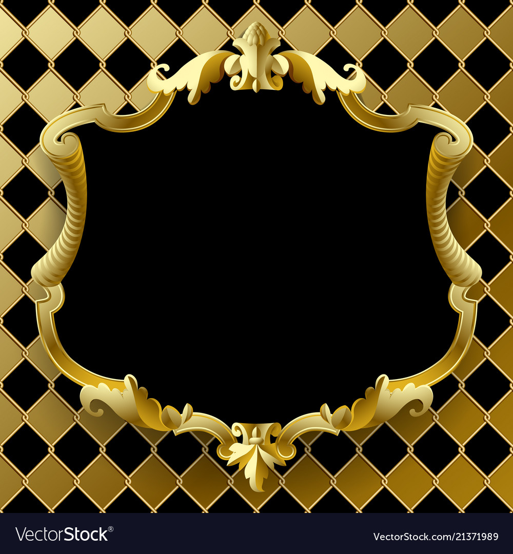 Vintage gold frame with black field on rhomboids