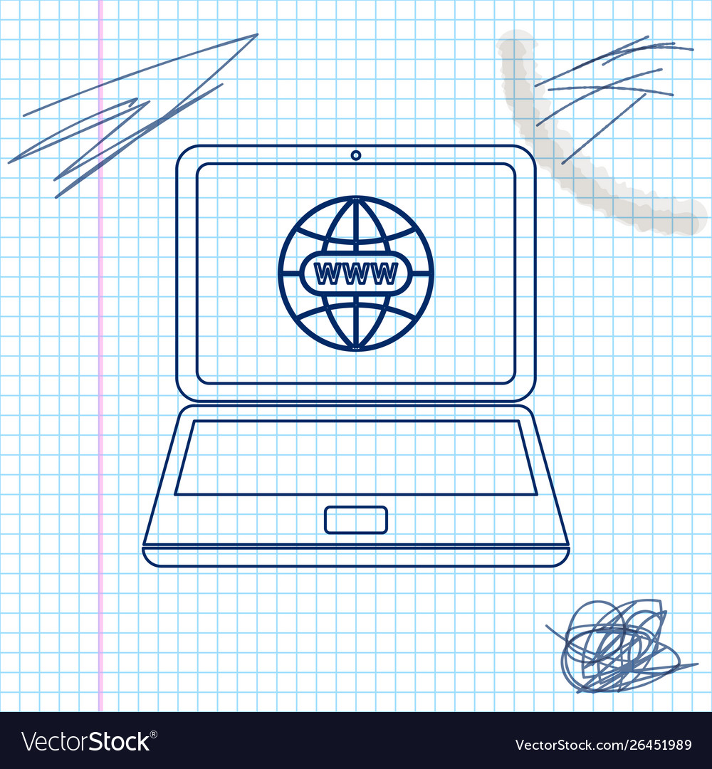Website on laptop screen line sketch icon isolated