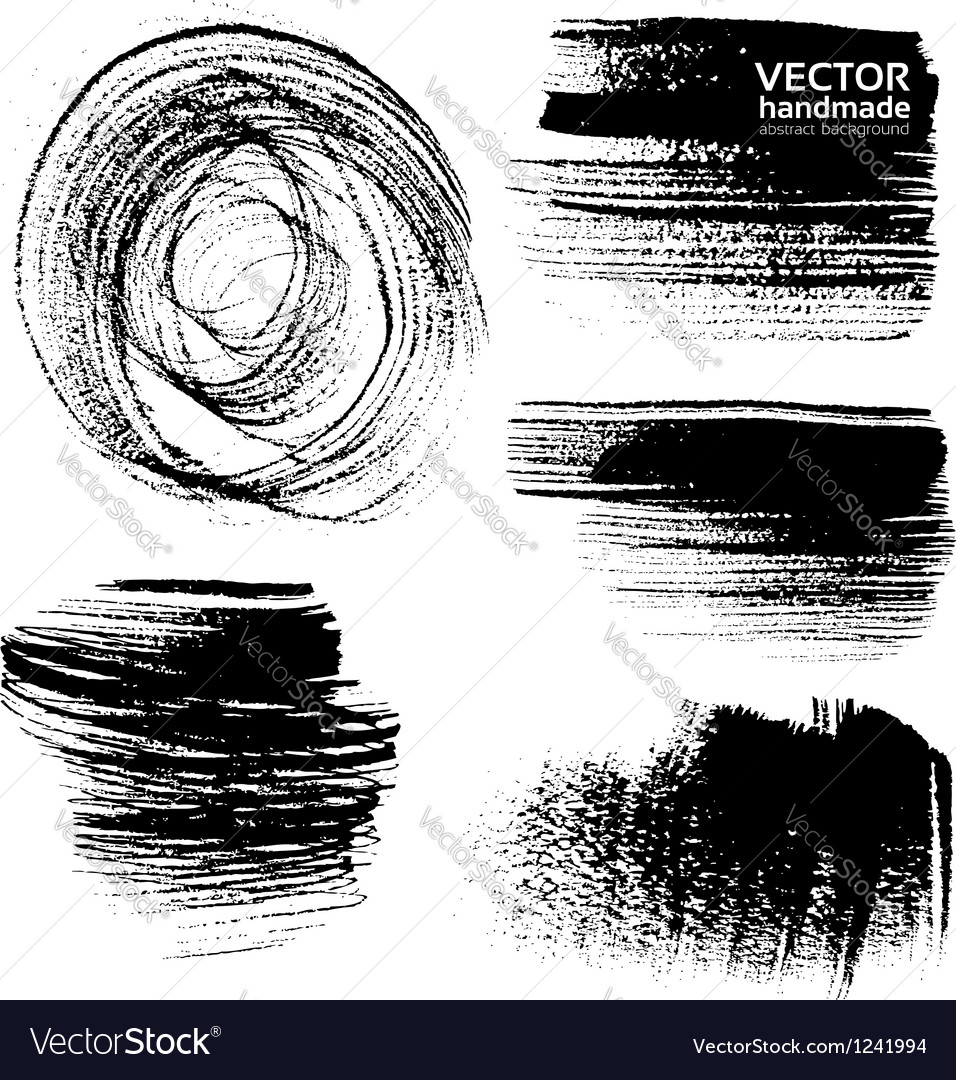 Abstract black brush strokes on white background vector image