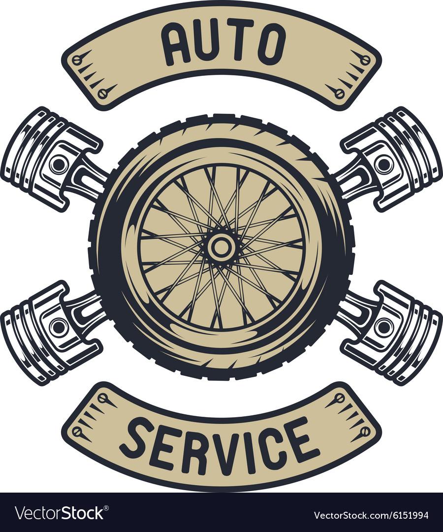 Auto emblem Wheel of pistons
