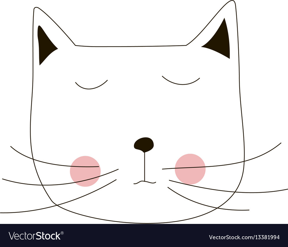 Cartoon cat animal line art silhouette drawing vector image